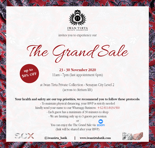 Iwan Tirta Private Collection - The Grand Sale Discount up to 50% OFF